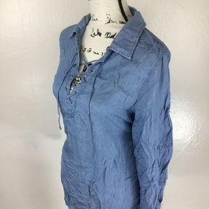 FEVER Women's Denim Chambray Lace Up Tunic Shirt